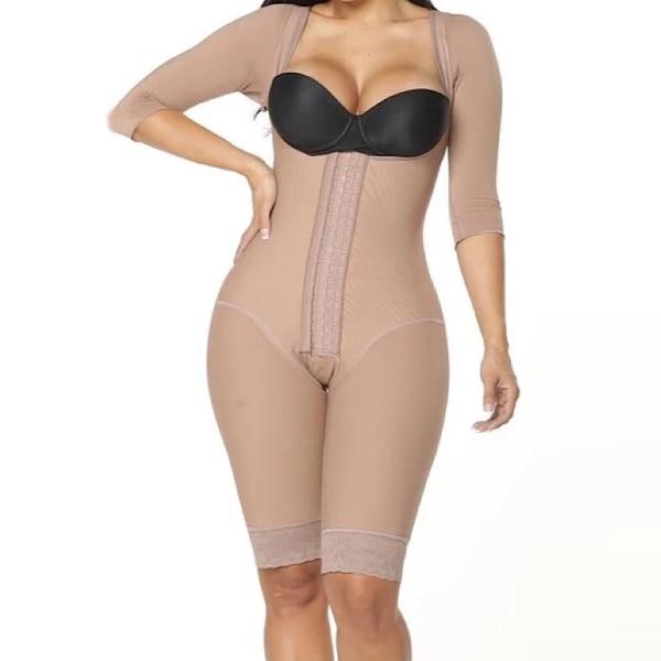 One-Piece Body Slimming Bodysuit Women Lace With Half Sleeves Underbust High Back Skims kim kardashian BBL Post Op Surgery