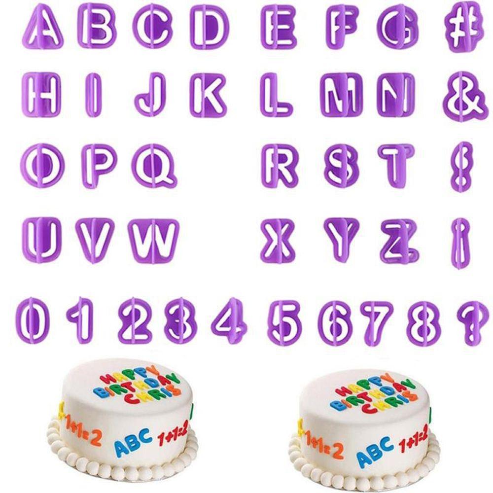 40 unids/set de moldes de alfabeto para pasteles, molde plástico para Fondant con letras, cortador de galletas, número de moldes para pasteles, herramientas de decoración para hornear