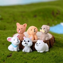 Mini mignon chien fée jardin Figurines Miniature gâteau décor résine artisanat ornement mousse Terrariums décoration