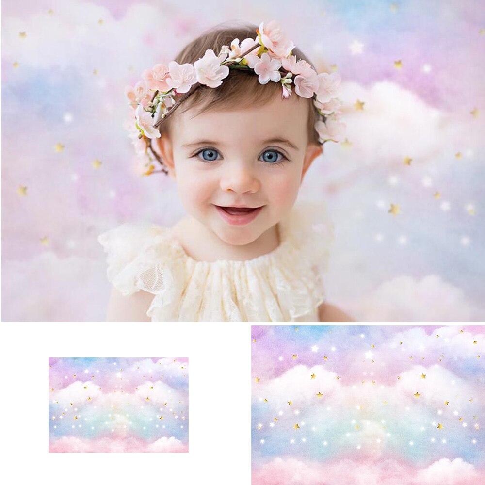 Arco Iris nube dulce niña cumpleaños arte telón de fondo para estudio fotográfico centelleante estrellas doradas recién nacido retrato de bebé fotografía de fondo
