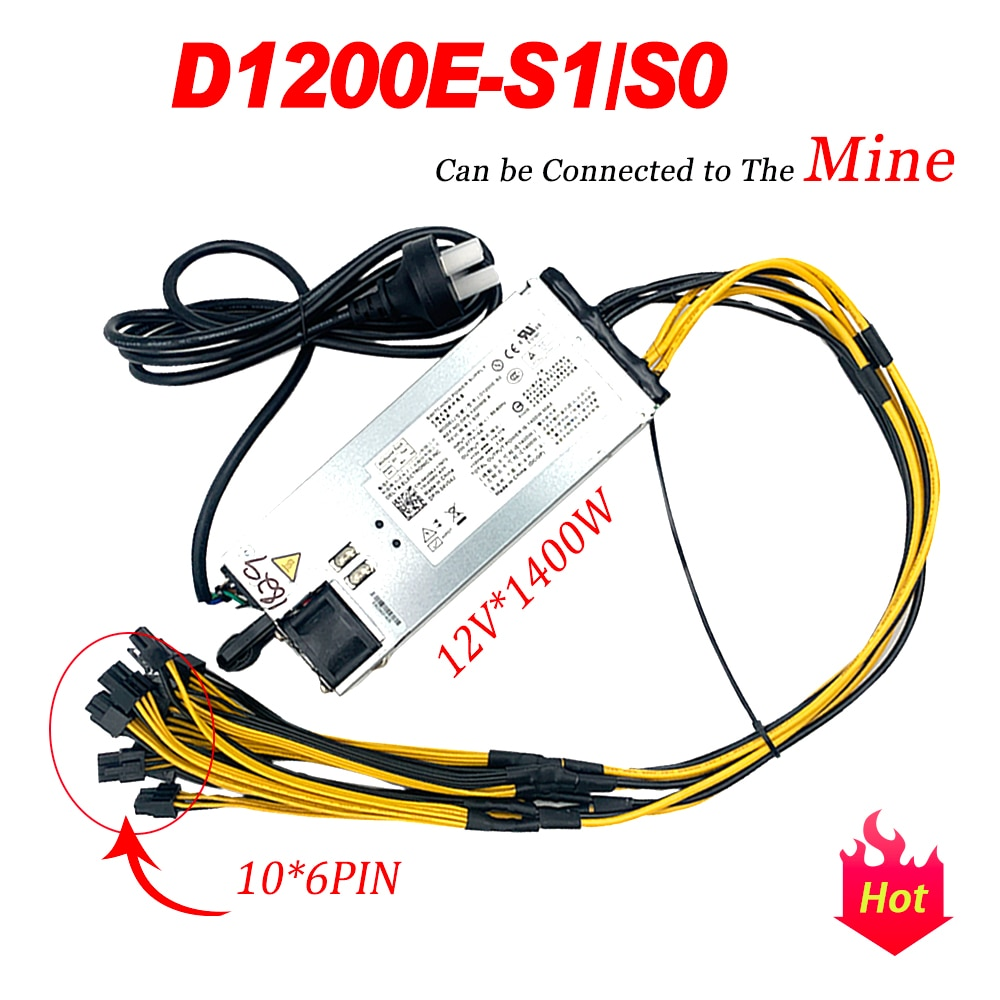 D1200E-S1/S0 لديل C6105 12 فولت 1400 واط خادم امدادات الطاقة RN0HH 0CN35N 10 * 6PIN يمكن توصيلها إلى المنجم