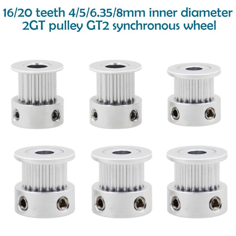 Polia de alumínio da correia dentada gt2 para a largura 6mm peças da impressora 3d acessórios 1 pces