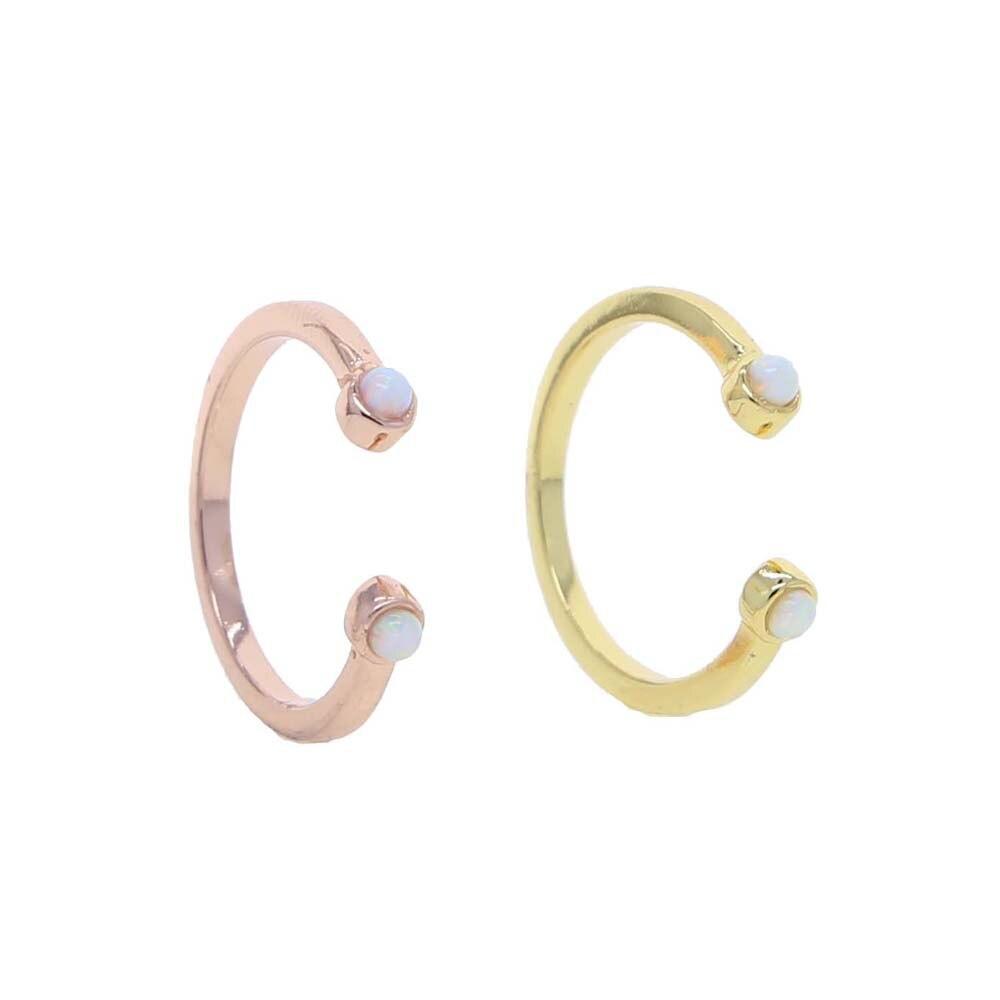 Nouveau ouvert Double Mini opale Knuckle anneau Micro pierre délicat ouvert mince queue anneau pour les femmes bijoux cadeau réglable mignon Rng