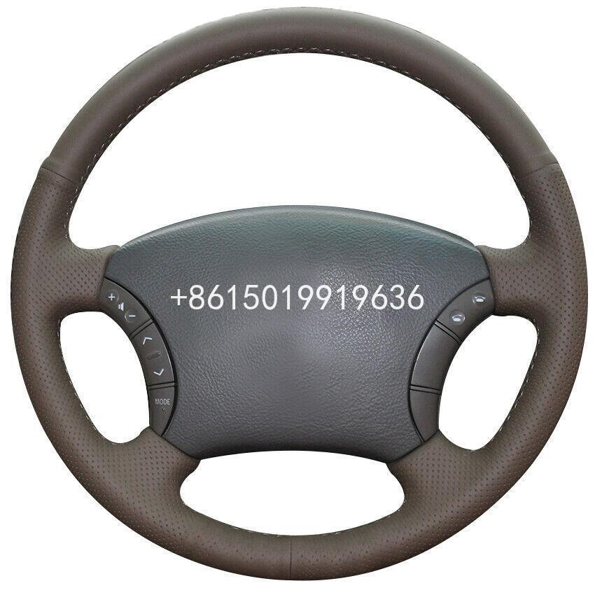 Personalizado de cuero marrón oscuro protector para volante de coche para Toyota Land Cruiser Prado 120