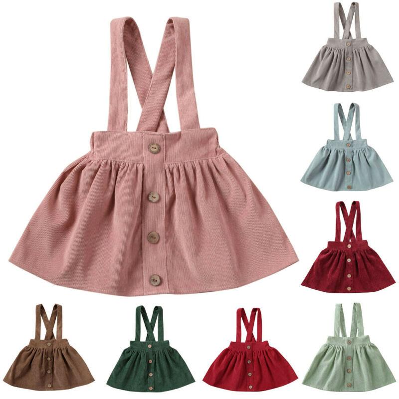Niños pequeños bebés niñas correa de pana Correa general ropa traje vestido botón sólido Mini vestidos 1-6T
