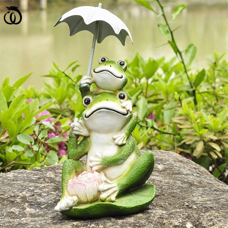 مظلة الضفدع الفن النحت الحيوان تمثال حديقة ديكور مجردة تمثال راتنج كرافت الأفكار الأمريكية اكسسوارات المنزل الديكور