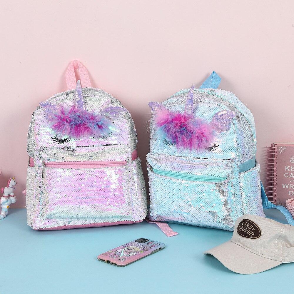 Girls Unicorn Sequins Childrens Backpacks Cartoon Cute School Bags Schoolbags Kids Back Pack Glitter Backpack for