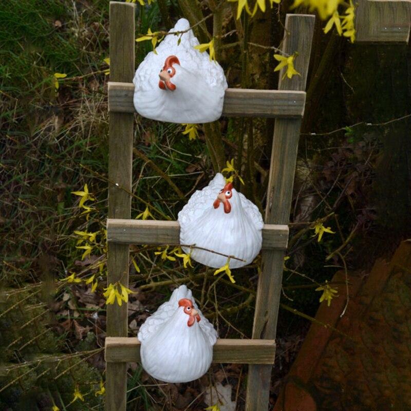 تمثال الدجاجة الحلي الحيوانية مزرعة الحيوان تحصيل حديقة المنحوتات لحديقة سلم الديكور 14X13X12.5cm LBShipping