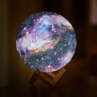 3d print star moon lamp led rechargeable touch night light with remote control 16 colors creative galaxy lamp for home decor