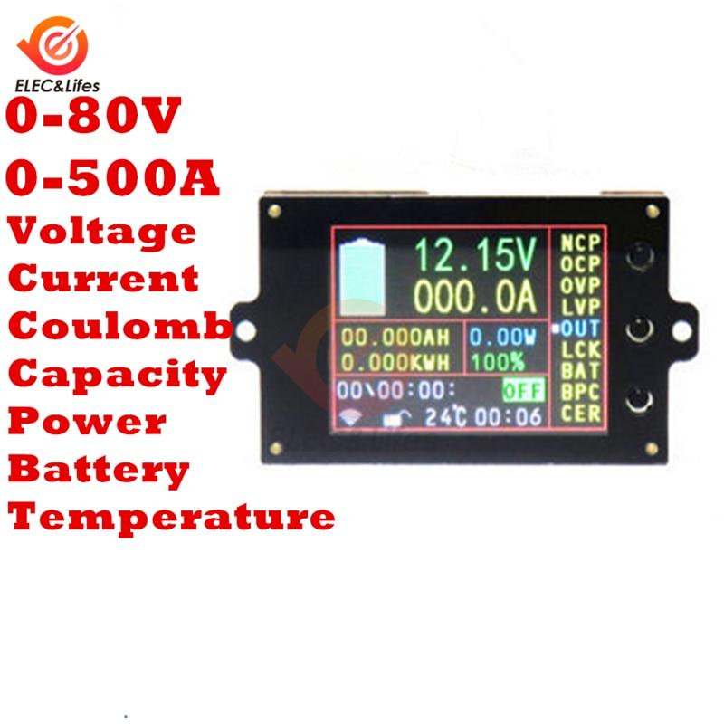 الفولتميتر الرقمي اللاسلكي 2.4 بوصة ، 80 فولت ، 500A ، مراقب البطارية ، درجة الحرارة