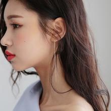 Sterling Silver Needle Slim Chain Earrings Korean Fashion Snake Bones Chain Tassel Earrings Temperam