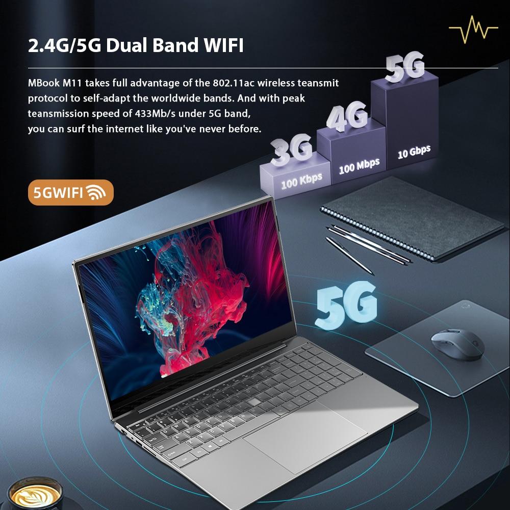 DERE MBook M11 15.6 Inch FHD Laptop Intel Celeron N5095 12GB ROM 256/512 GB Backlit Notebook Windows 10 Fingerprint Recognition