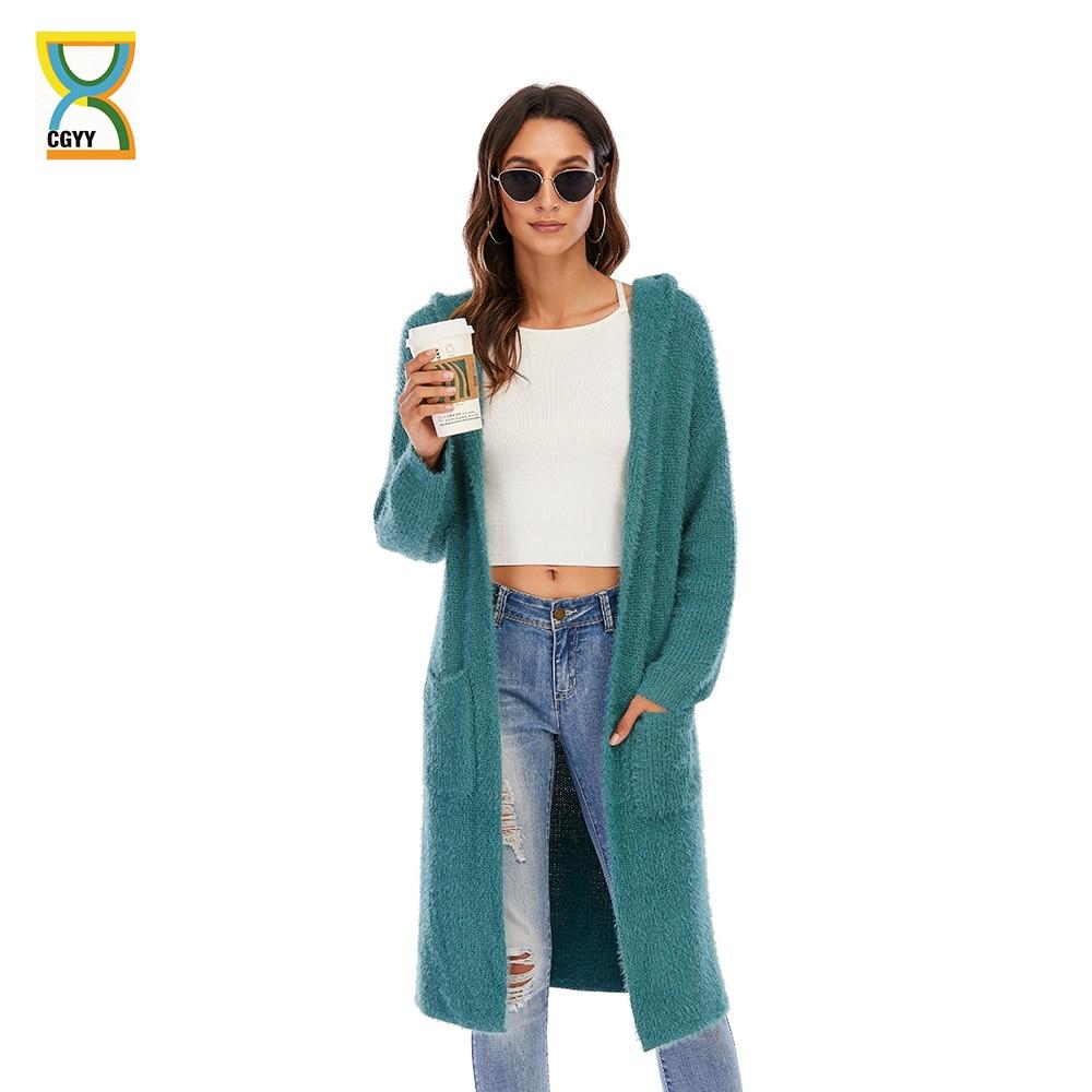 CGYY-كارديجان نسائي بأكمام طويلة ، محبوك ، لون أخضر ، سميك ، غير رسمي ، عتيق ، موهير ، خريف ، ربيع