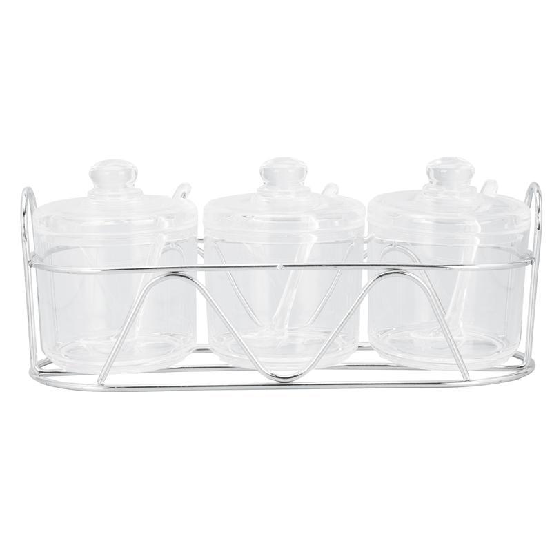 1 Set أكريليك توابل جرة شفاف برطمان ملح سكر صندوق مطبخ مطعم صندوق توابل ملح علبة سكر علبة فلفل