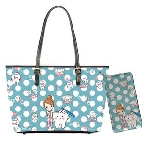 Kawaii Nursing Bags for Women Fairy Dentist Dot Design Brand Shoulder Bag Female 2pcs/set Waterproof Travel Handbags