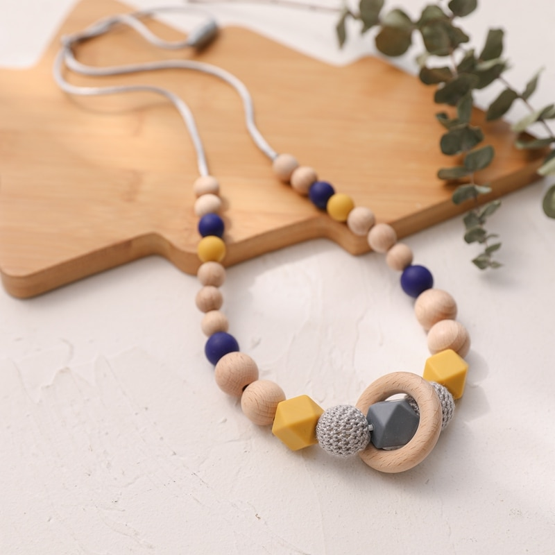 1pc Silicone Beads Wooden Food-grade Baby Silicone Silicone Teething Necklace  Rodent Teether for Teeth Baby Goods Teething Toys