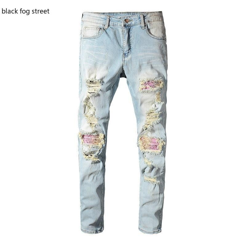 Black fog street 589 #, pantalones vaqueros elásticos ajustados rasgados con agujeros azules claros para motociclista, bandanna paisley impreso