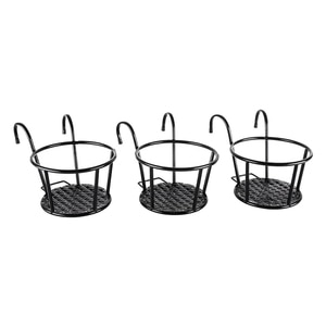 Iron Art Hanging Baskets Flower Pot Holder Over The Rail Metal Fence Planters Assemble,Pack of 3 (Black)