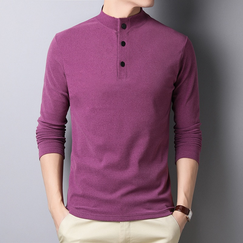 Otoño doble cara Oversized T Shirt hombres púrpura camiseta caliente Casual gruesa Vintage camiseta polar camiseta niños Camiseta de manga larga