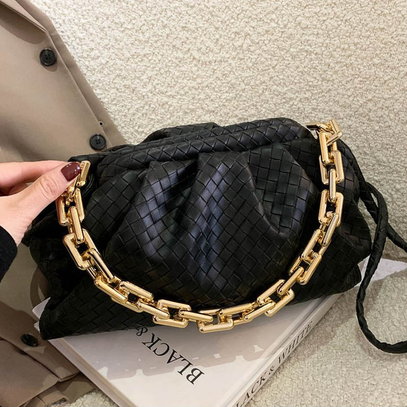 Luxury Brand Handbag Women's Bag Pu Leather Fashion Thick Chain Shoulder BagsTrendy Crossbody Bags For Women 2020 New Purse