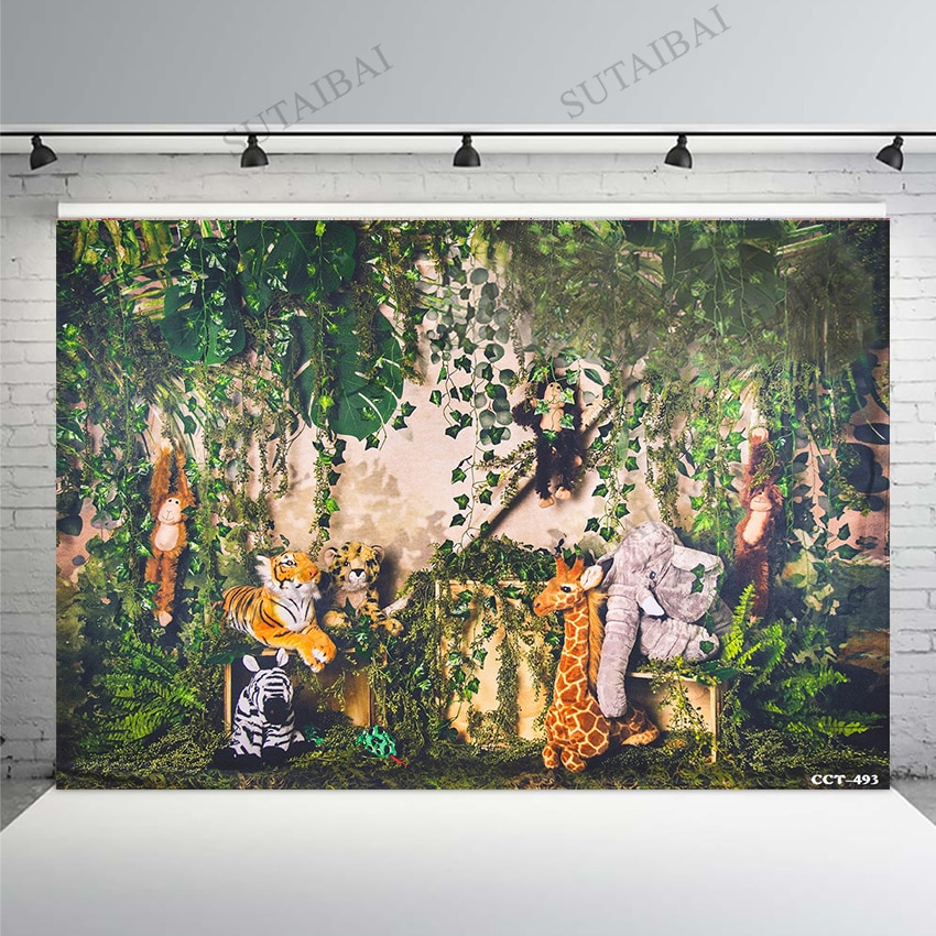 Wildlife Park Photography Backdrop Forest Jungle Baby Background for Photo Studio Party Decoration Supplies Dessert Table Banner
