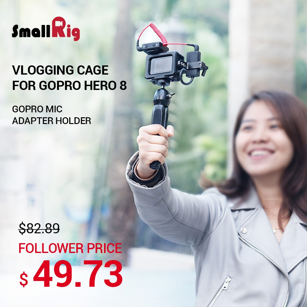SmallRig gopro hero 8 black Vlogging Rig Video Camera Cage and Mic Adapter Holder for GoPro HERO8 Black Vlog Accessories 2678 enlarge