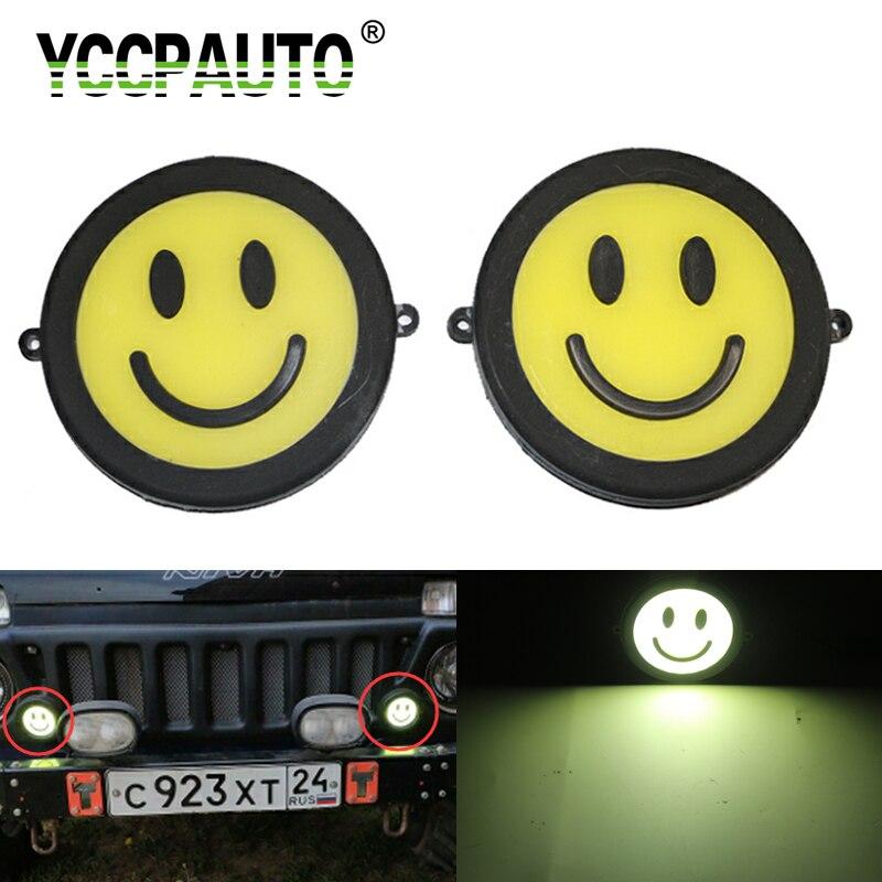 YCCPAUTO 2Pcs Waterproof COB DRL Car LED Daytime Running Light 10W Super Bright Bulbs 90mm Round Auto Fog Lamp 12V