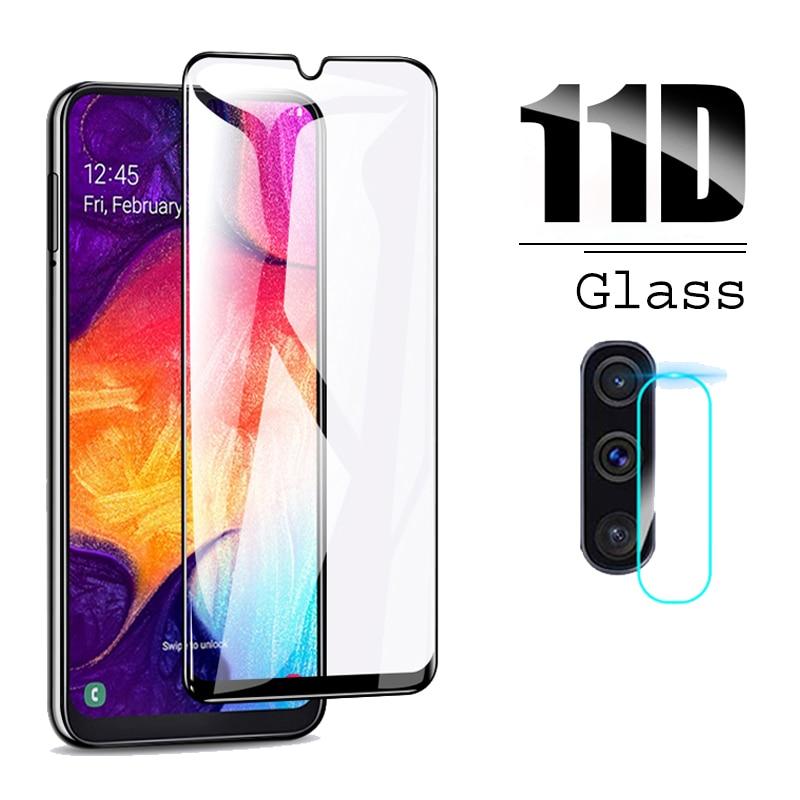 2 en 1 para Samsung Galaxy A50 2019 película de lente de cámara y Protector de pantalla 11D vidrio templado Protector para Galaxy SM A50 A505F