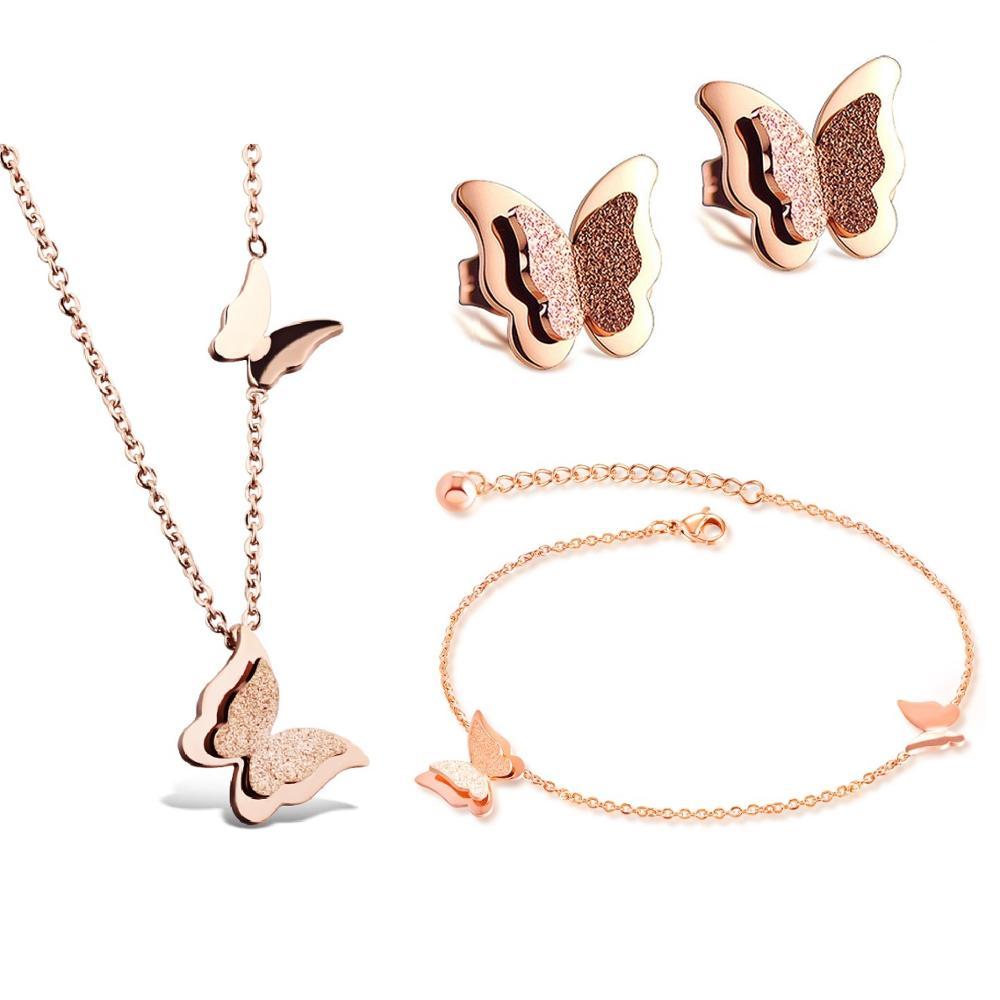 Moda collar tobillera pendientes de tuerca mariposa Acero inoxidable Color oro rosa encanto juegos de joyas para mujer chica fiesta regalo