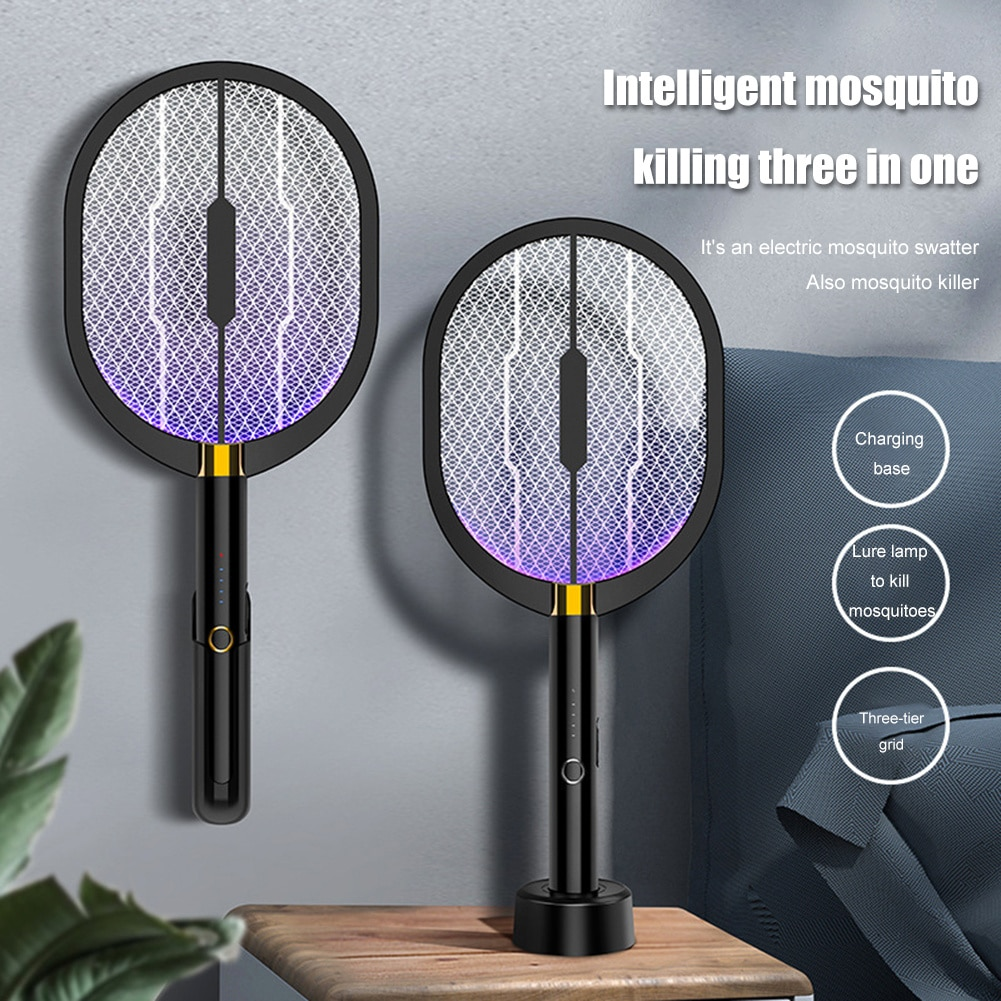 electric mosquito killer swatter home pest control handheld mosquito racket insect bug racket zapper fly mosquito killer trap 3 In 1 Electric Mosquito Swatter Insect Racket Swatter USB Rechargeable Mosquito Swatter Kill Fly Bug Zapper Killer Trap