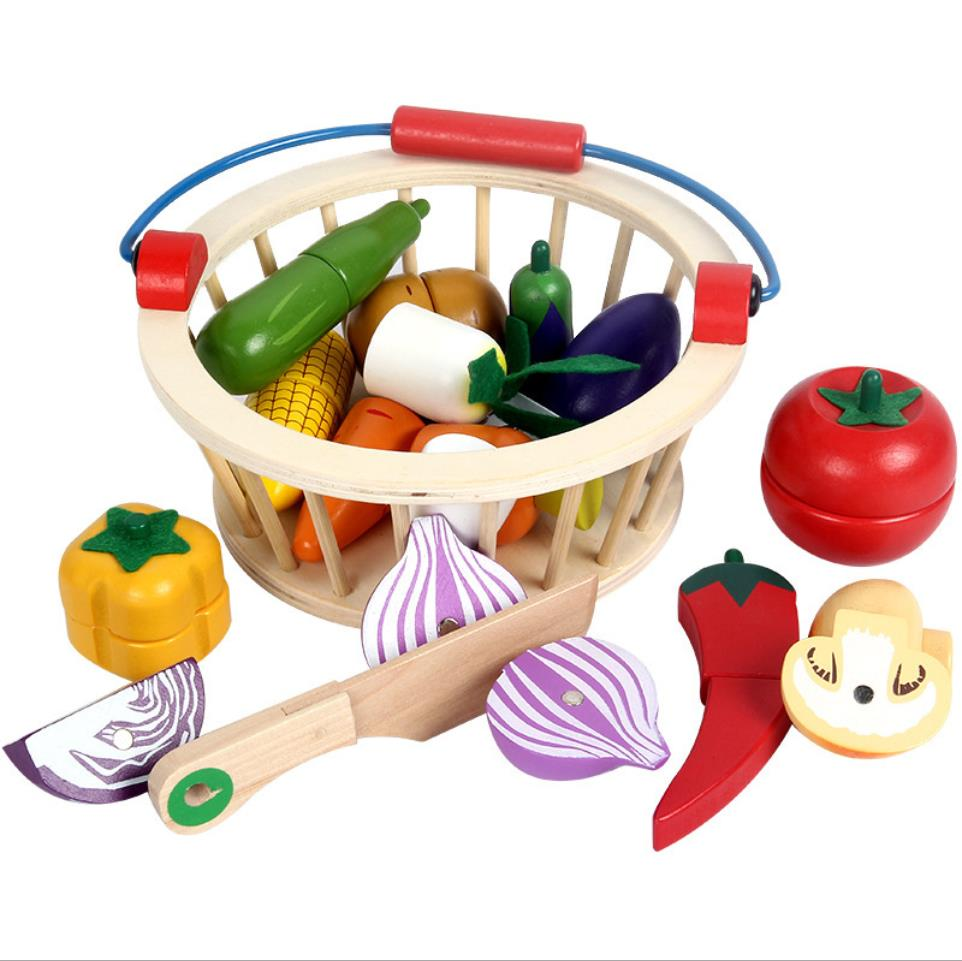 Kids Wooden Simulation Fruits And Vegtables Cutting Toys Kids Wooden Play House Cutting Blocks Toys