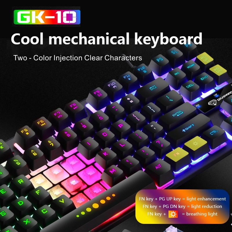 GK10 لوحة مفاتيح الألعاب 87 مفتاح الألعاب مناور لوحة المفاتيح الميكانيكية السلكية RGB الخلفية LED الإضاءة لوحة المفاتيح للكمبيوتر المحمول