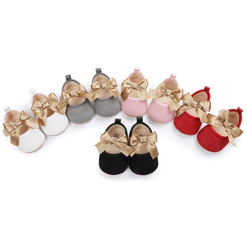 Обувь для новорожденных принцесс с бантом, обувь для детской кроватки, ажурные туфли с крючком и петлей (белый, серый, розовый, красный, черны...