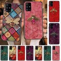 luxury diamond bee little bee phone case hull for samsung galaxy a50 a51 a20 a71 a70 a40 a30 a31 a80 e 5g s black shell art cell