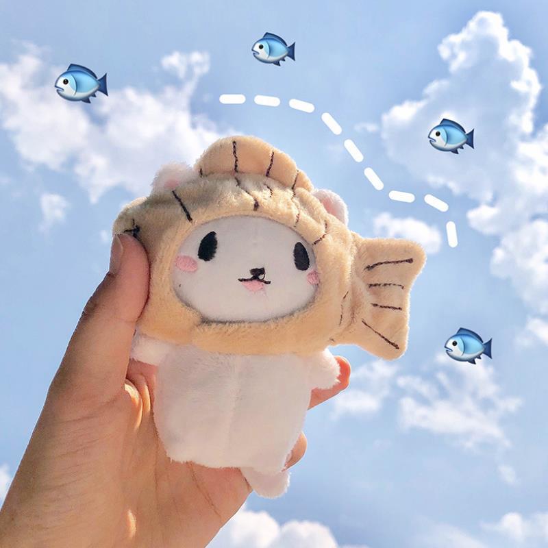 1 unidad de lindos juguetes creativos de peluche gato de dibujos animados gatito con gorro de pez muñeco de peluche suave llavero para bolsos colgante de muñeca de peluche regalo