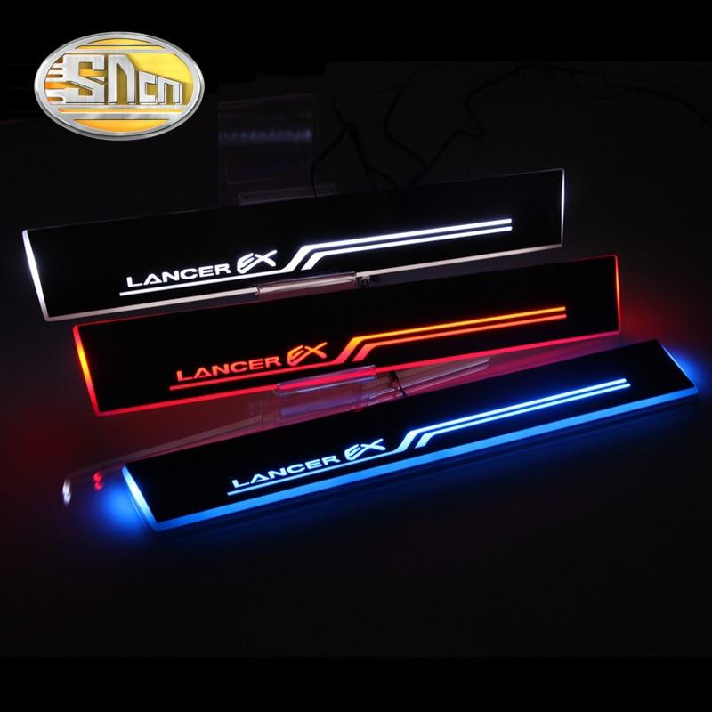 SNCN 4 Uds alféizar de puerta LED de coche para Mitsubishi Lancer 2011-2015 ultradelgado acrílico dinámico LED bienvenida luz rascador Pedal de la placa