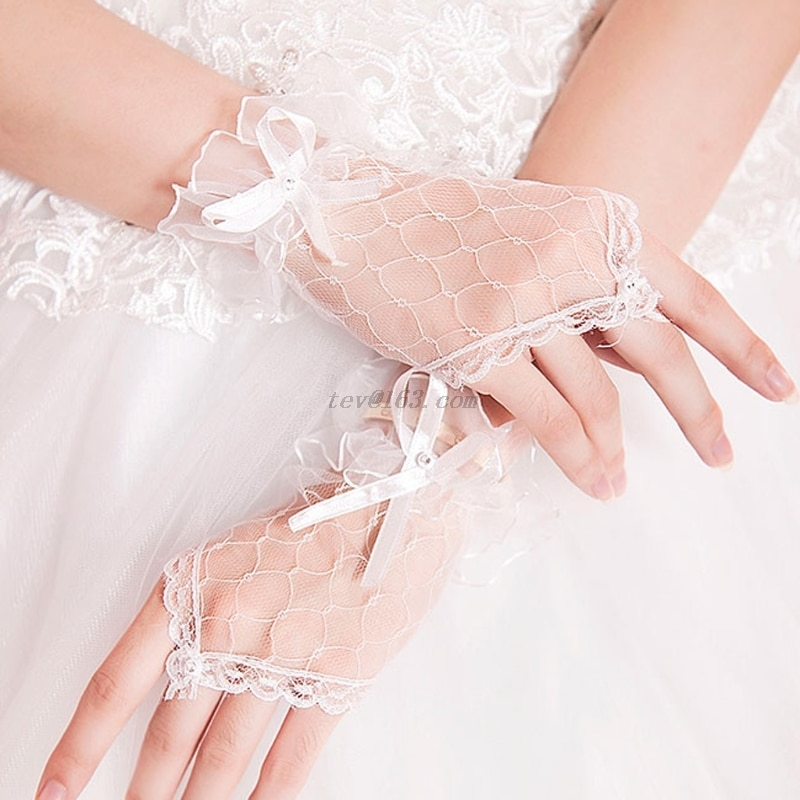 2020 New Fashion New Solid Lace Net Yarn Bowknot Gloves Without Fingers Accessories