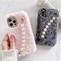 signalshin pearl wrist furry phone case for iphone 12 xs max xr x 11 pro max se warm cover for iphone 7 8 plus soft plush cover