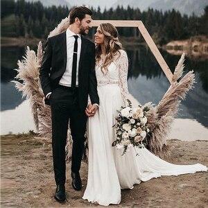 O-neck Top Lace Chiffon Two Piece Wedding Dresses Long Sleeve Sweep Train Beach Wedding Dress vestido de noiva