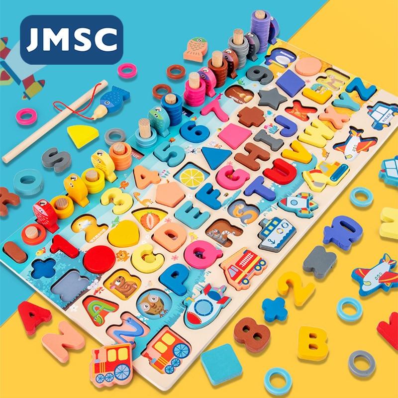 JMSC-ألعاب مونتيسوري الخشبية التعليمية للأطفال ، لعبة التعلم المبكر ، شكل الرياضيات ، مطابقة لوح خشبي ، أحجية الصور المقطوعة