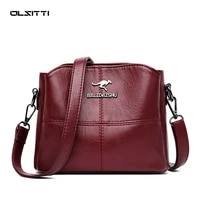 olsitti 3 layers pu leather solid color shoulder crossbody bags for women 2021 ladies womens handbag and purses sac a main