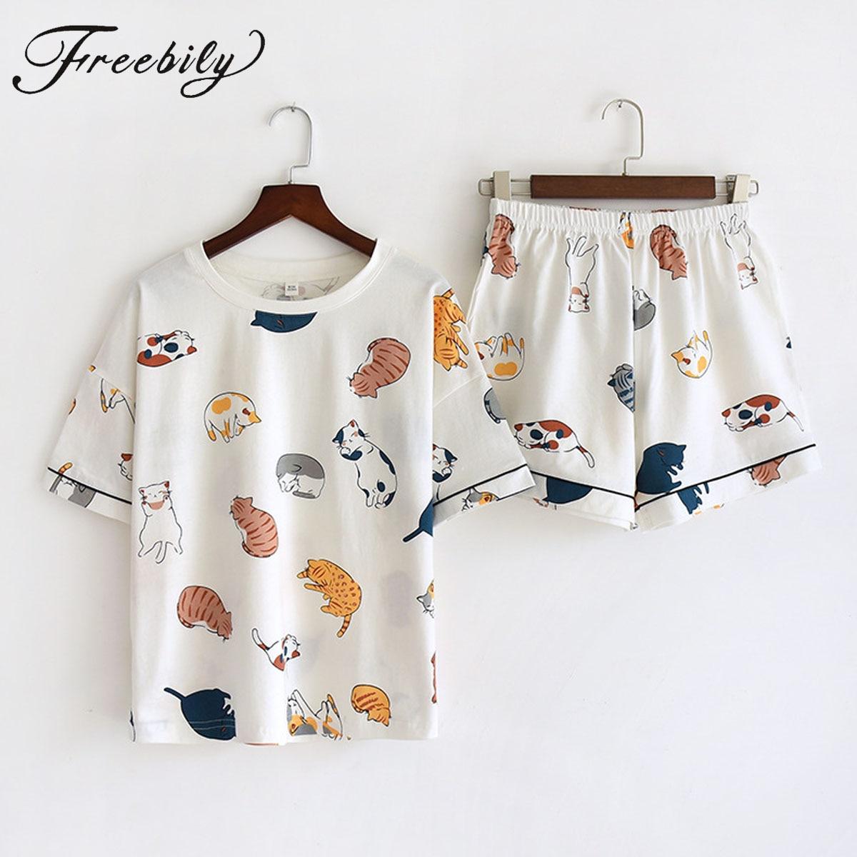 Женский хлопковый пижамный комплект с коротким рукавом и принтом кошки, милая одежда для сна, повседневные свободные шорты, PJ комплекты