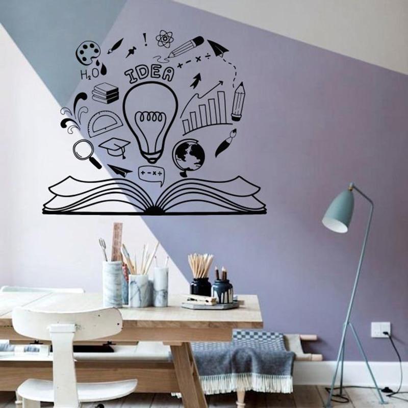Wand Aufkleber Idee Brainstorm Lesen Buch Motivation Vinyl Fenster Aufkleber Bibliothek Büro Kinder Studie Zimmer Decor Wandbild Q595