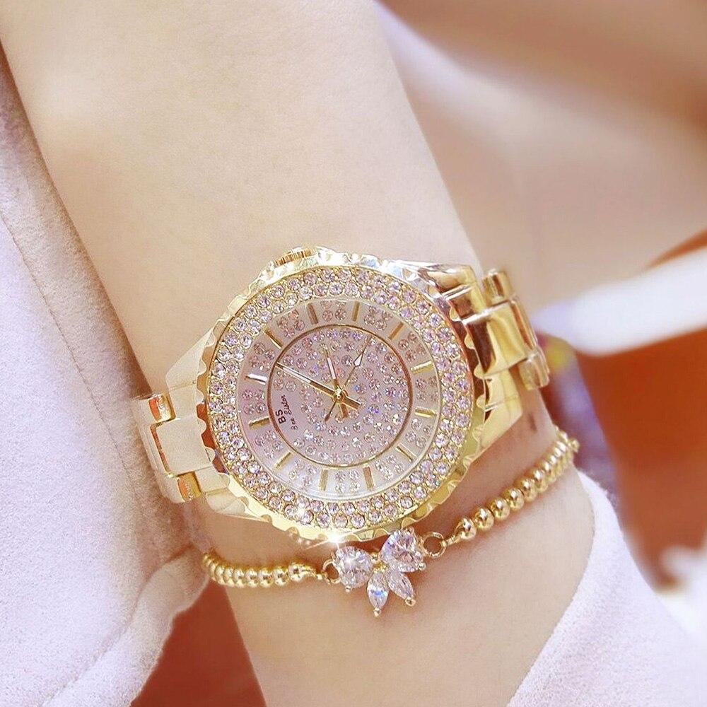 Nuevo reloj de alta calidad con diamantes de imitación para mujer elegante marca famosa relojes de cuarzo plata de lujo reloj de negocios para mujer Relogio