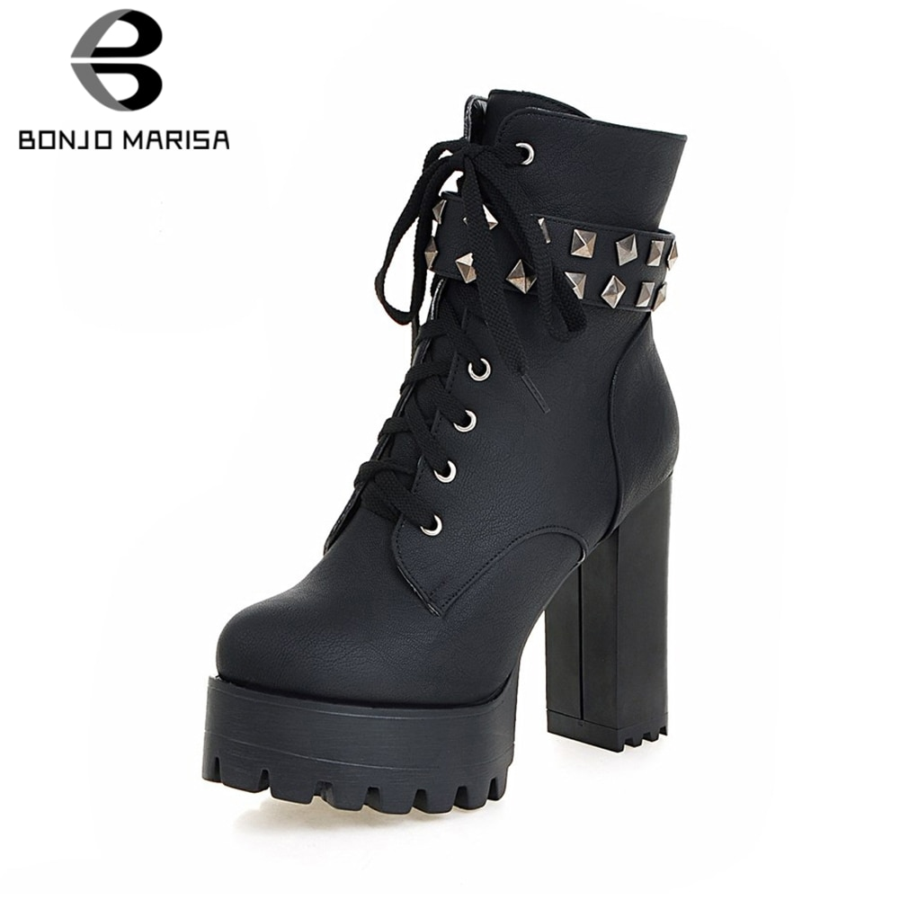 BONJOMARISA New Plus Size 33-48 Cool Rivet Motorcycle Boots Women 2020 Winter Warm Fur Booties Platform High Heels Shoes Woman