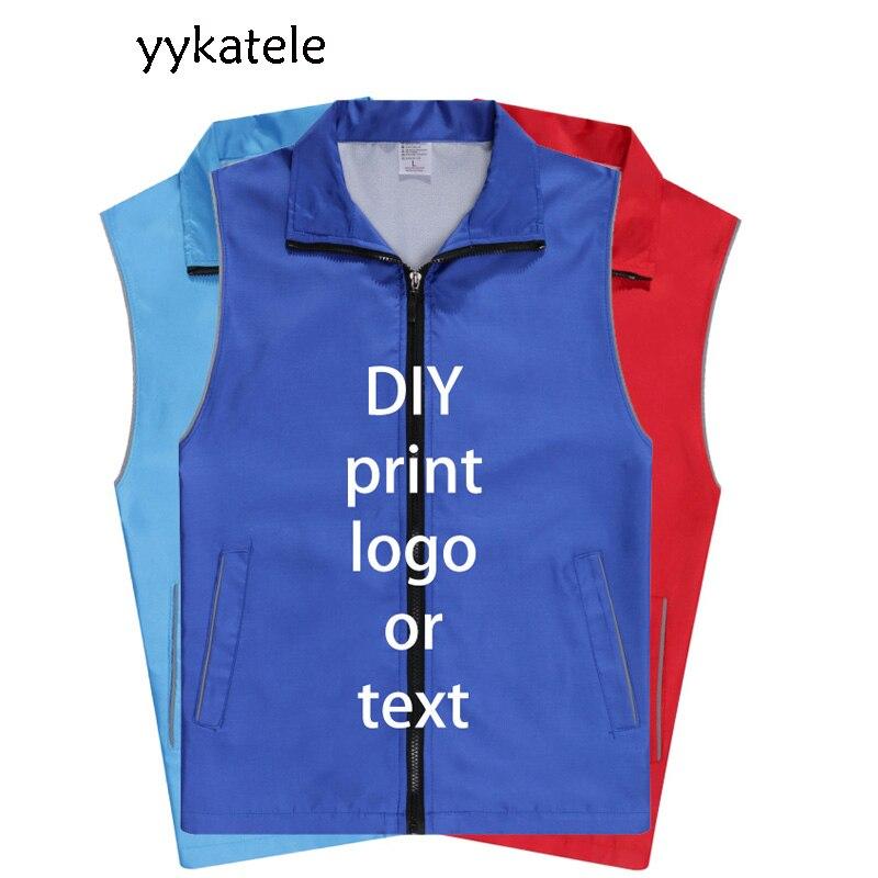 10 pçs pode logotipo 2021 yykatele colete aventura trabalho roupas para homem e mulher reflexivo colete oficina com roupas de trabalho pessoal