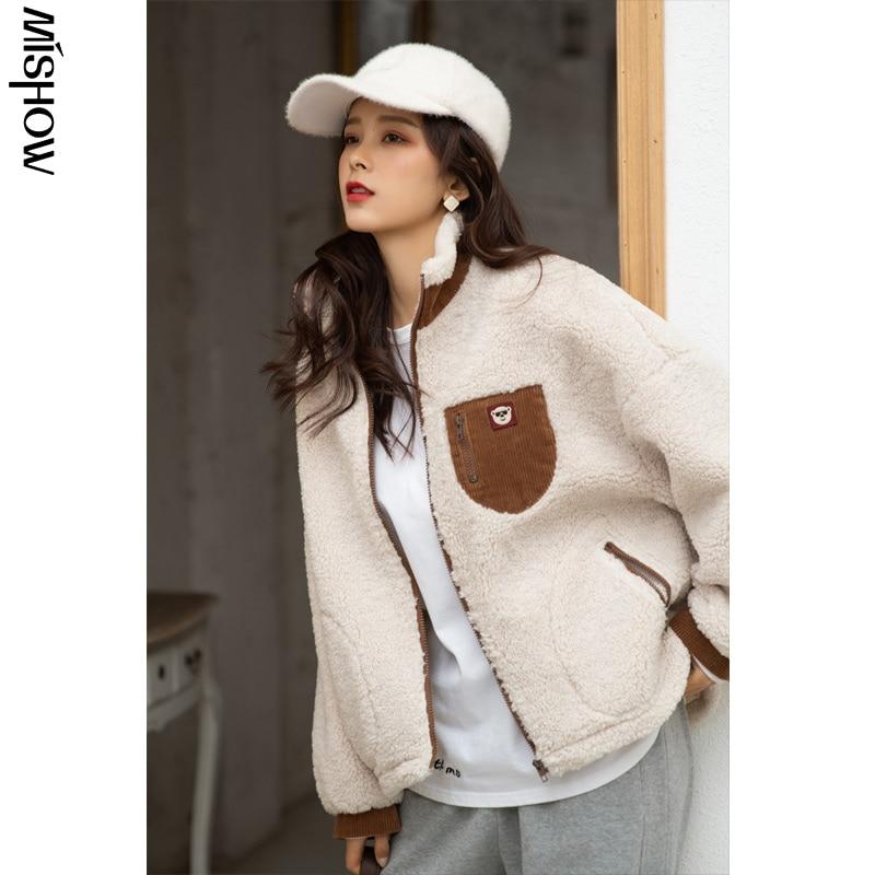 CMAZ-معاطف نسائية شتوية ، جاكيت قصير ، جيب كبير ، ياقة مقلوبة ، كاجوال ، دافئ ، MX20D6940 ، 2020