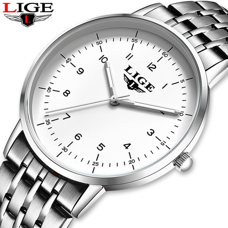 Reloj Masculino a la moda informal para hombre, relojes de lujo ultrafinos a prueba de agua, reloj de cuarzo de acero inoxidable para hombre