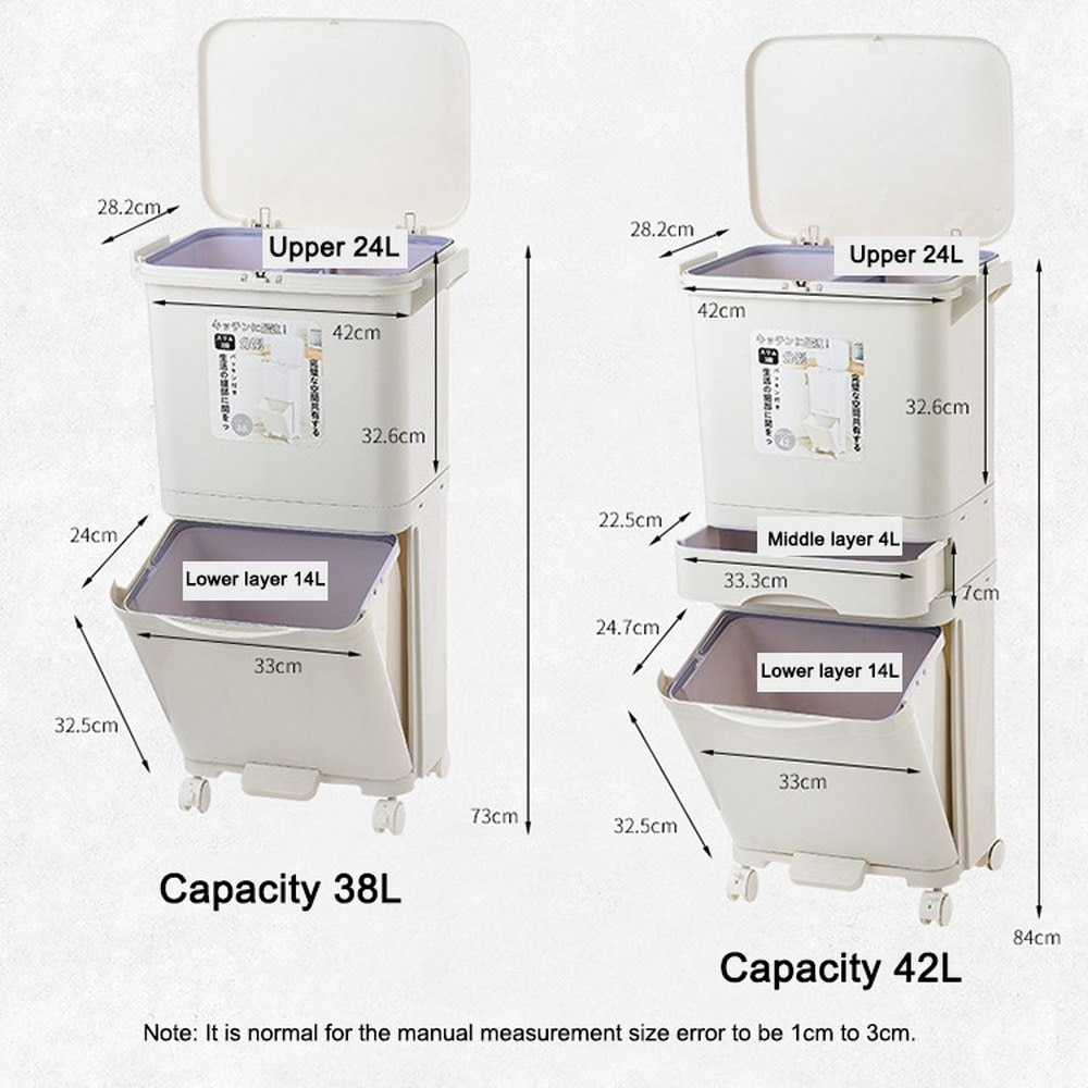 38L Trash Can Large Double Layers Garbage Cans Kitchen Vertical Waste Sorting Bins with Wheel Garbage Holder Recyclable Storage enlarge