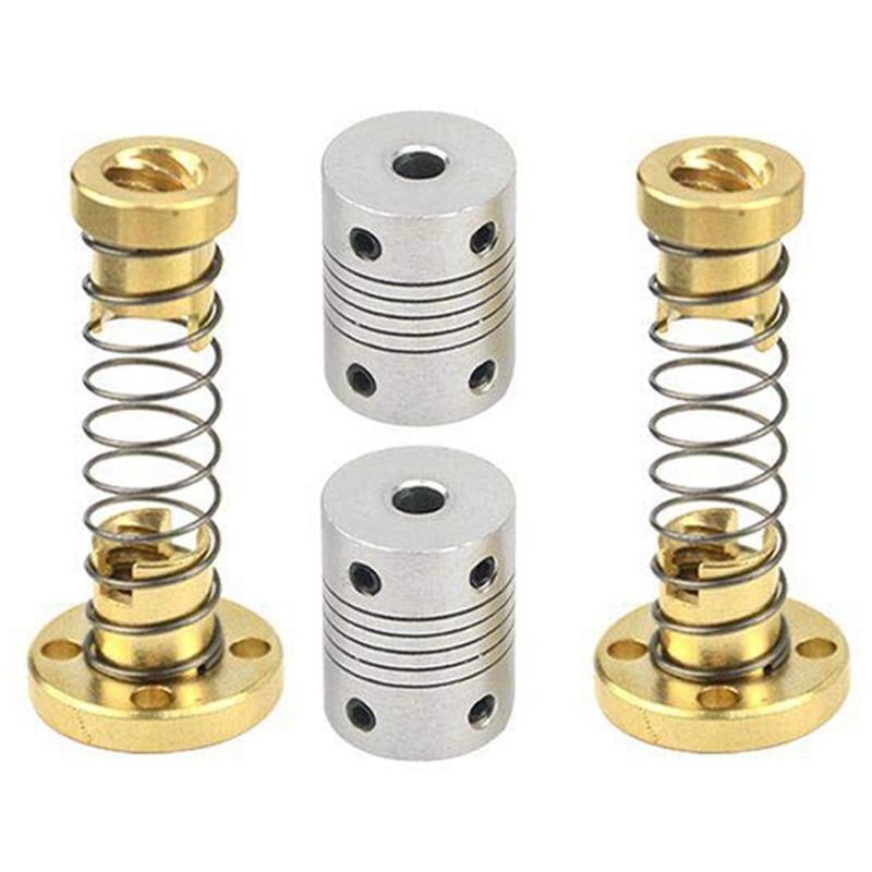 T8 resorte Anti sacudidas cargado tuerca eliminación espacio tuerca (2 uds) + acoplamientos flexibles 5mm a 8mm paso a paso acoplador de Motor (2 uds)